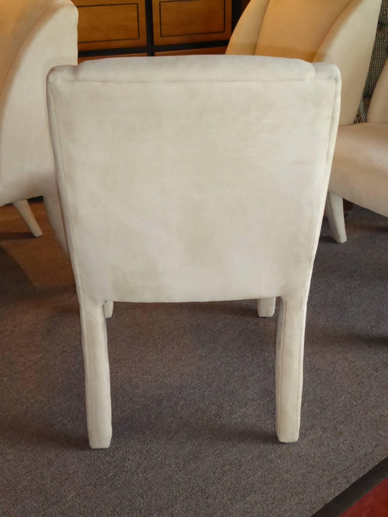 1980s Luxe Modern Ultrasuede Dining Chairs by Directional For Sale 4