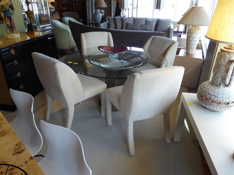 1980s Luxe Modern Ultrasuede Dining Chairs by Directional For Sale 5