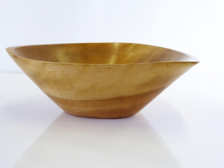 Organic Modern Mid-Century Wood Artist Emil Milan Carved Turned Bowl For Sale