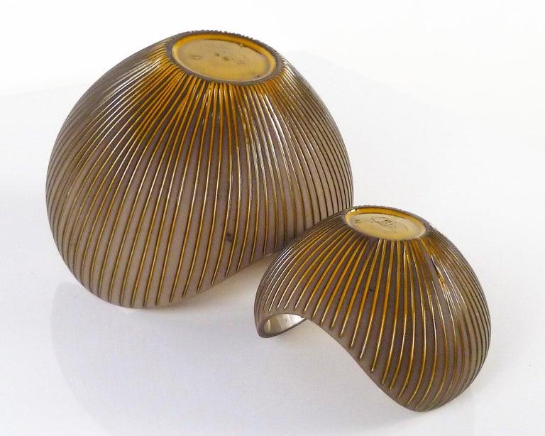 Pottery Trio Modern Kokos / Coconuts Vases by Hjordis Oldfors, Upsala-Ekeby, Sweden 1954 For Sale