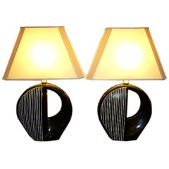 Pair of Black and White Optic Pop Table Lamps, Early 1970s