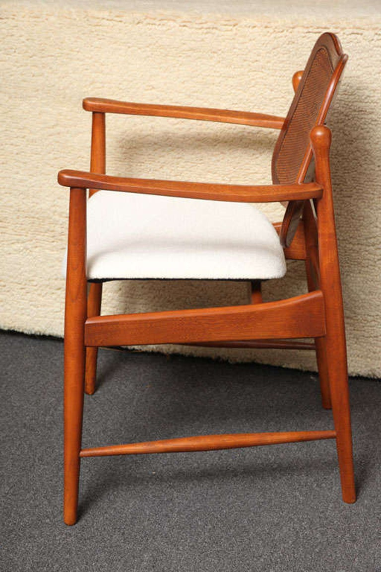 Scandinavian Modern 1950s Arne Vodder Teak and Cane Armchair For Sale