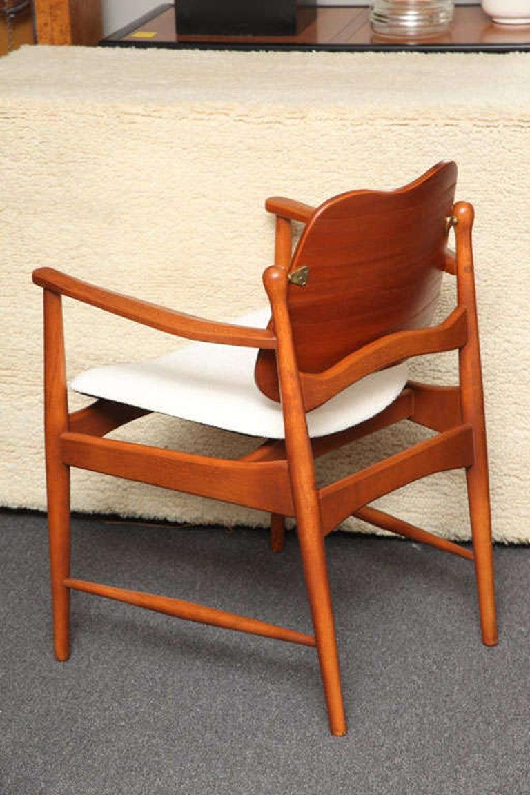 Danish 1950s Arne Vodder Teak and Cane Armchair For Sale