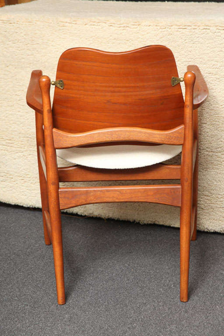 1950s Arne Vodder Teak and Cane Armchair In Good Condition For Sale In Miami, FL