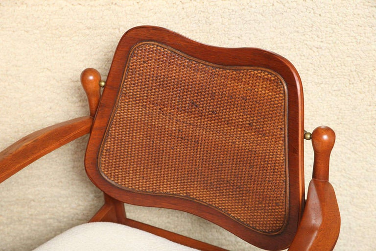Brass 1950s Arne Vodder Teak and Cane Armchair For Sale