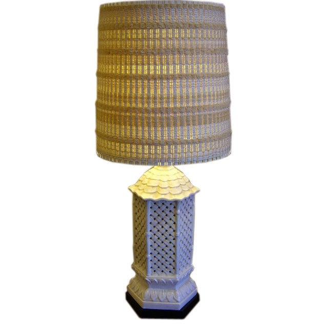 1950s Nardini Oriental Motif  Mid Century Modern Table Lamp