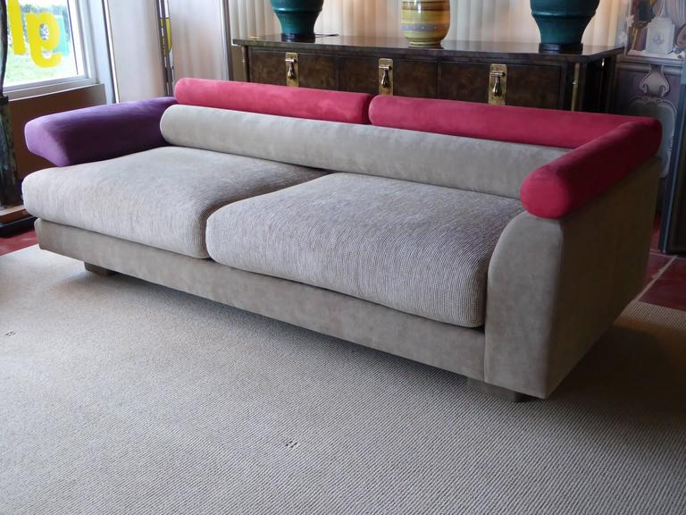 Elegant And Refined Postmodern Sofa With Shape Inspirations From Memphis Edited In Soft Red Purple