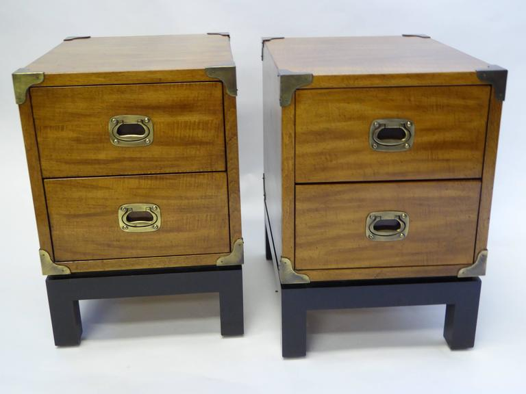 Pair Of Mt Airy Walnut Campaign Style Nightstands At 1stdibs