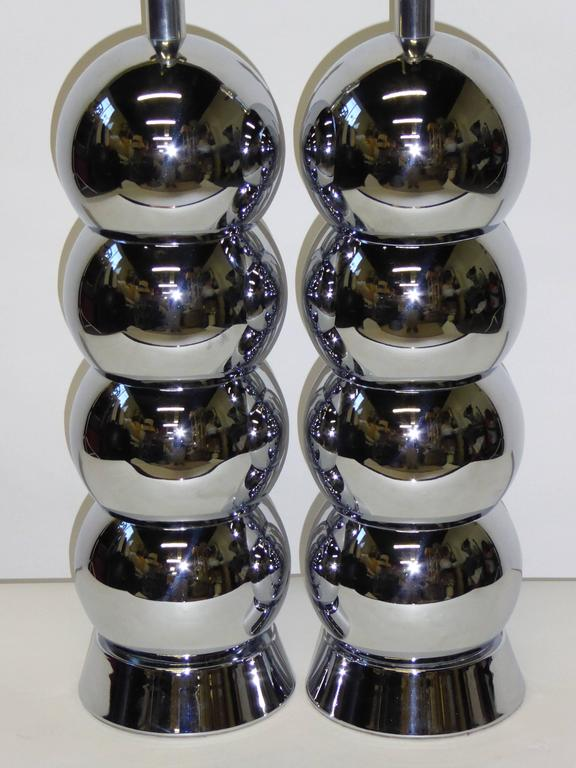 Stellar George Kovacs Chrome Ball Column Table Lamps At