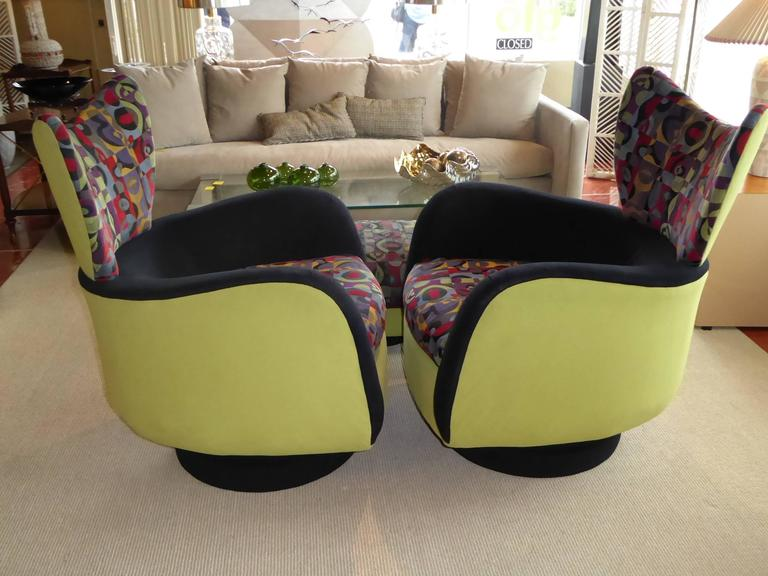 Pair of Vladimir Kagan Lounge Chairs for Directional with Ottoman 4