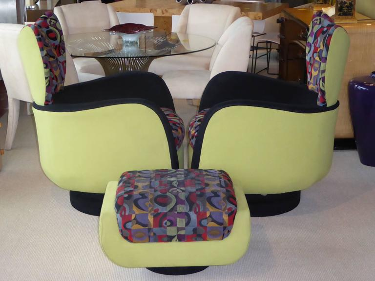 Ultrasuede Pair of Vladimir Kagan Lounge Chairs for Directional with Ottoman For Sale
