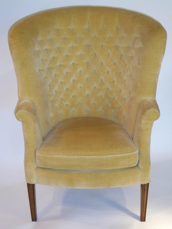 architectural high back tufted velvet wingback chair for sale at 1stdibs. Black Bedroom Furniture Sets. Home Design Ideas