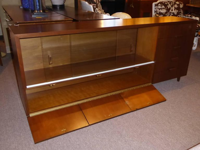Bespoke 1950s Long Narrow Walnut Credenza by Robert Law Weed For Sale 2