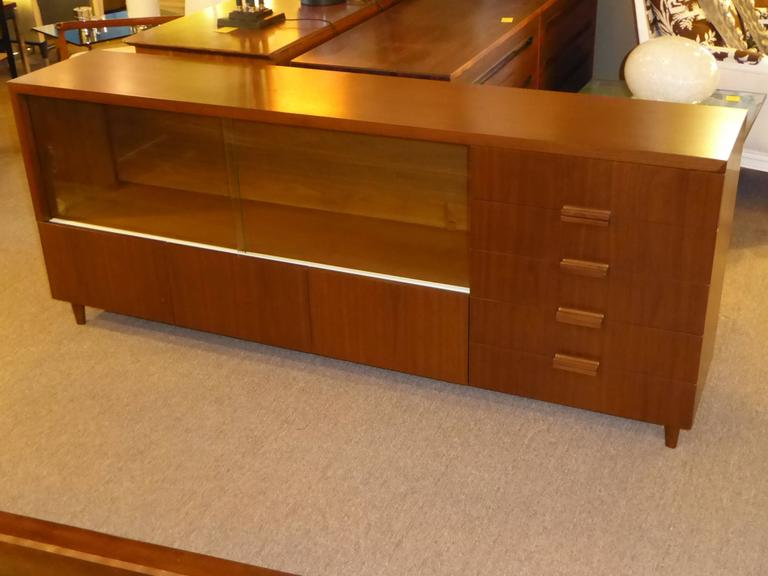 Mid-Century Modern Bespoke 1950s Long Narrow Walnut Credenza by Robert Law Weed For Sale