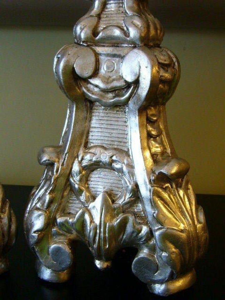 Gesso Late 18th Century Italian Silver Gilt Altar Prickets as Table Lamps For Sale