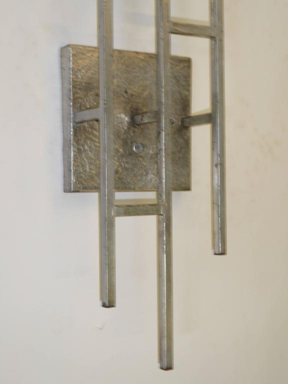 1960s Sconces Hammered Silvered Metal Appliques For Sale 1