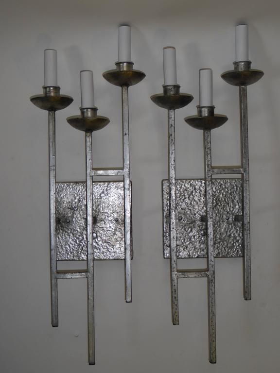1960s Sconces Hammered Silvered Metal Appliques For Sale at 1stdibs