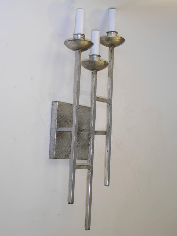 Mid-Century Modern 1960s Sconces Hammered Silvered Metal Appliques For Sale