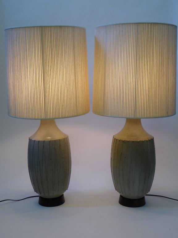 Mid-Century Modern Superb Pair of David Cressey Pottery Table Lamps For Sale