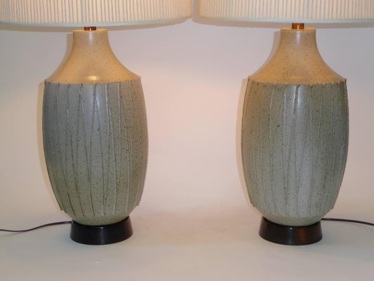 American Superb Pair of David Cressey Pottery Table Lamps For Sale