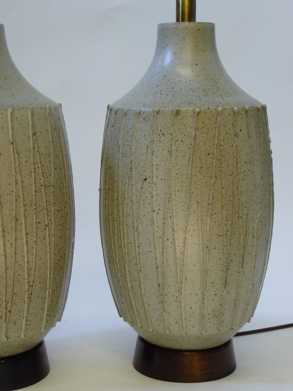 Glazed Superb Pair of David Cressey Pottery Table Lamps For Sale