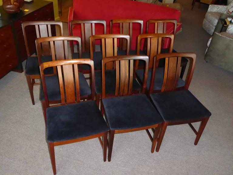 Scandinavian Modern Ten Fine Linde Nilsson Rosewood Modern Dining Chairs, Sweden For Sale