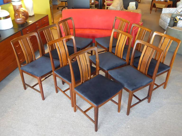 Swedish Ten Fine Linde Nilsson Rosewood Modern Dining Chairs, Sweden For Sale