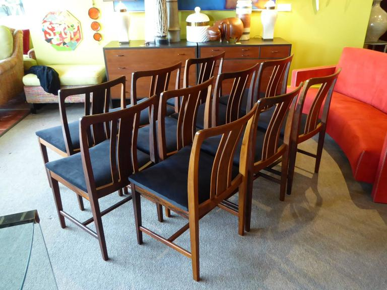 Ten Fine Linde Nilsson Rosewood Modern Dining Chairs, Sweden In Excellent Condition For Sale In Miami, FL