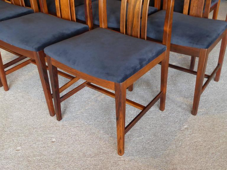 Mid-20th Century Ten Fine Linde Nilsson Rosewood Modern Dining Chairs, Sweden For Sale
