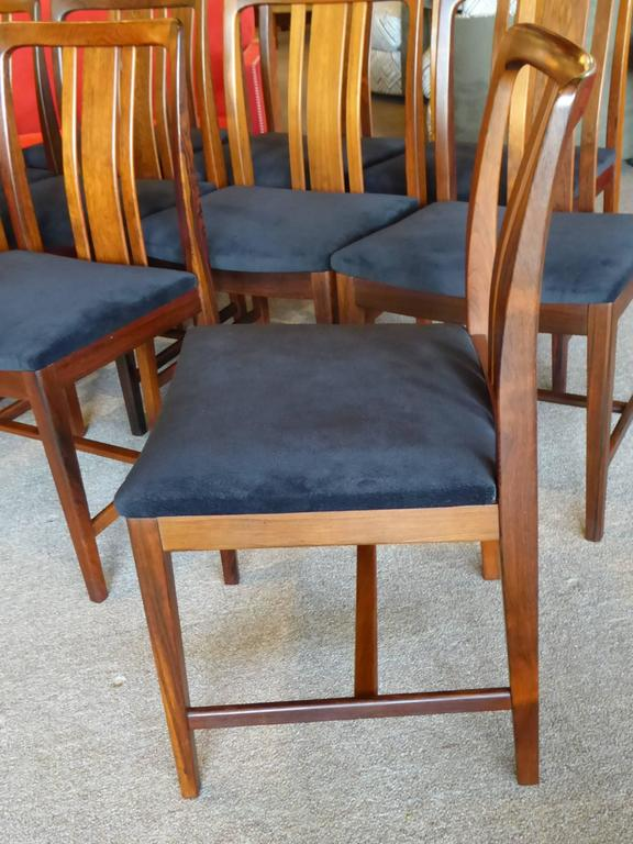 Ten Fine Linde Nilsson Rosewood Modern Dining Chairs, Sweden For Sale 1