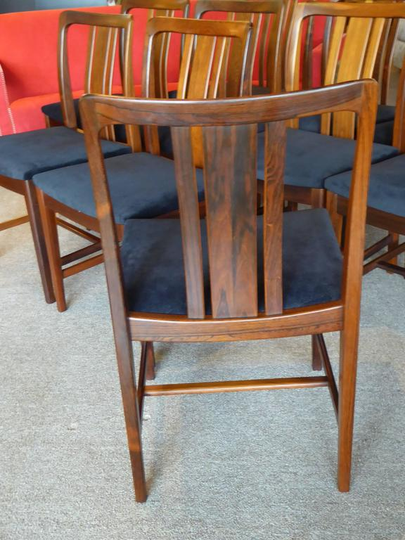 Ten Fine Linde Nilsson Rosewood Modern Dining Chairs, Sweden For Sale 2