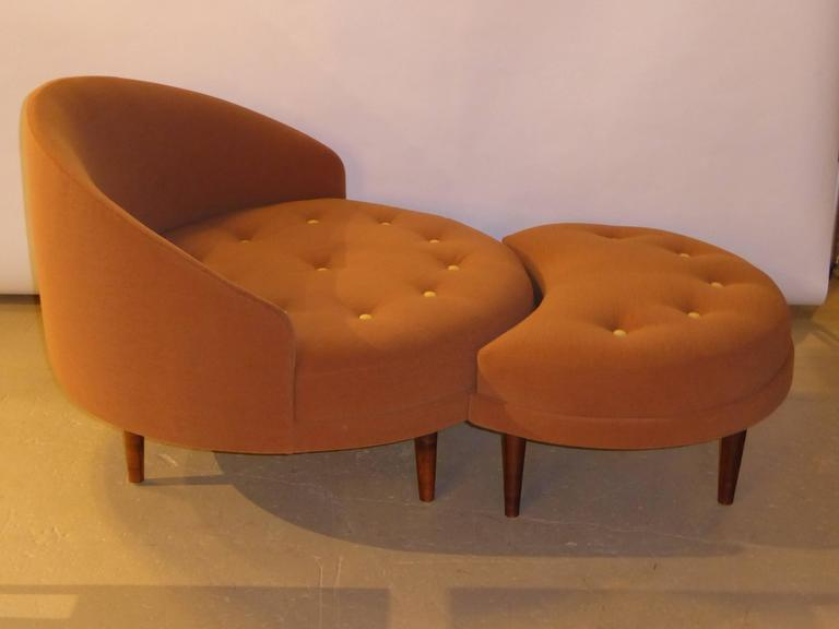 Amazing Mid Century Modern Superb Adrian Pearsall Round Lounge Chair With Fitted  Ottoman For Sale