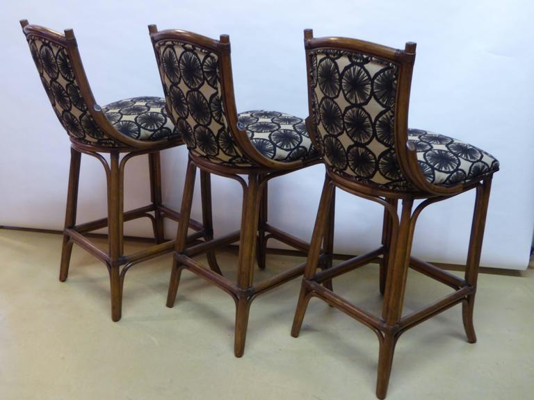 Stained Three McGuire Style Rattan Bar Stools in Marimekko Appelsiini For Sale
