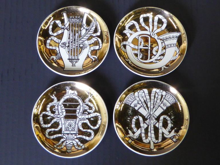 Neoclassical Eight 1950s Piero Fornasetti Musicalia Canapes or Coasters For Sale