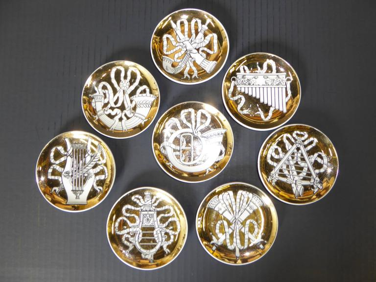 Italian Eight 1950s Piero Fornasetti Musicalia Canapes or Coasters For Sale