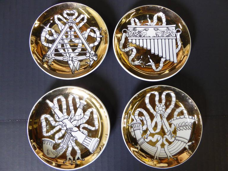 Eight 1950s Piero Fornasetti Musicalia Canapes or Coasters In Excellent Condition For Sale In Miami, FL