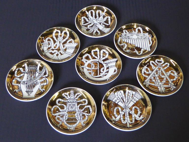 Mid-20th Century Eight 1950s Piero Fornasetti Musicalia Canapes or Coasters For Sale