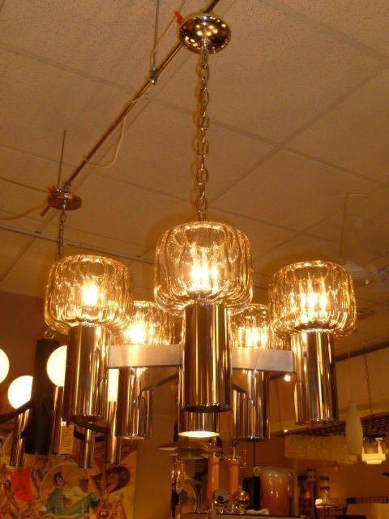 Exciting Five Globe Nickel Lightolier Chandelier For Sale 3
