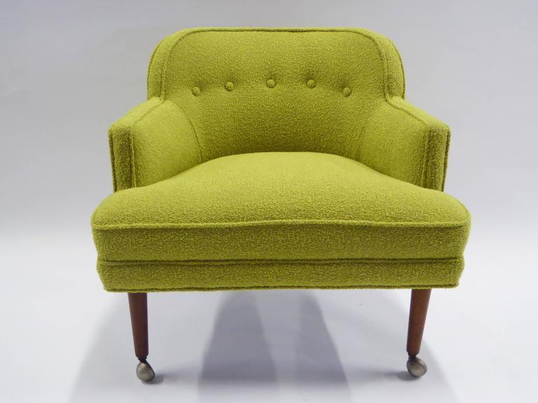 Scandinavian Modern 1950s Orla Molgaard Nielsen Style Boucle Upholstered Armchair For Sale