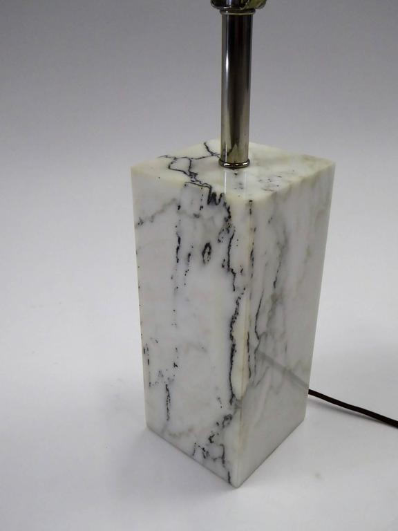 1970s marble block table lamp by Robert Sonneman in Calacatta marble with chrome stem. Made by Kovacs. Three level socket. Just add your shade. Measurements: Marble is 9 inches high x 4 inches x 4 inches Overall height with harp 23 inches Bottom