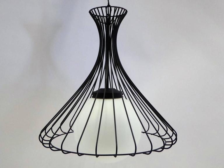 Mid-Century Modern 1950s Satin Glass Globe Chandelier with Sculptural Steel Wire Bell For Sale