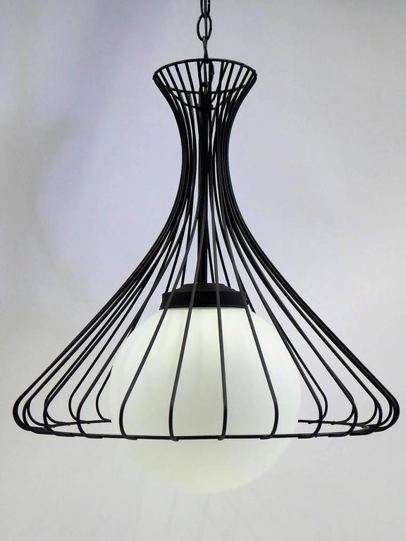 Italian 1950s Satin Glass Globe Chandelier with Sculptural Steel Wire Bell For Sale
