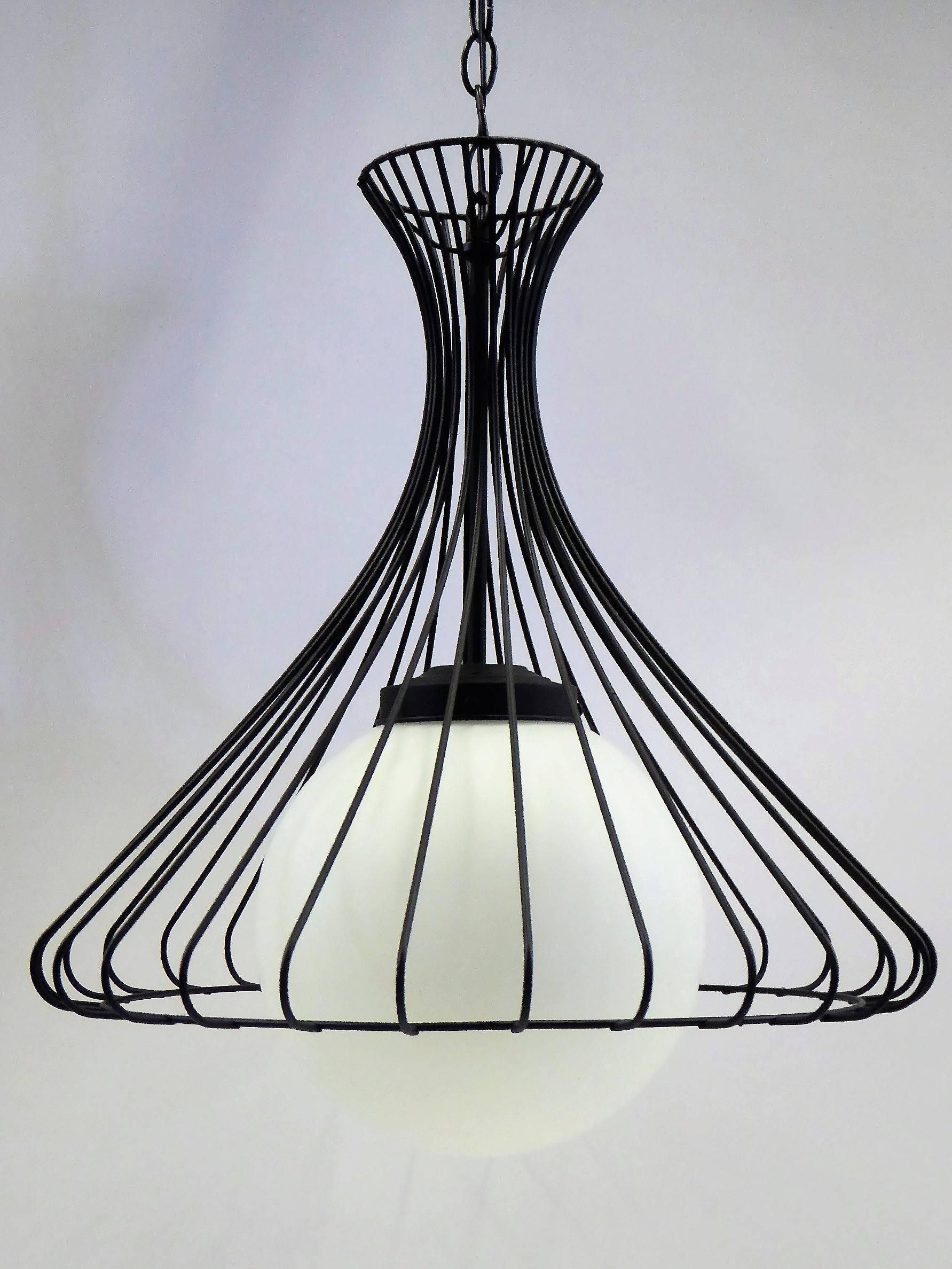 1950s Satin Glass Globe Chandelier with Sculptural Steel Wire Bell ...