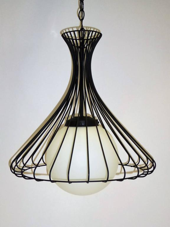 1950s Satin Glass Globe Chandelier with Sculptural Steel Wire Bell In Excellent Condition For Sale In Miami, FL