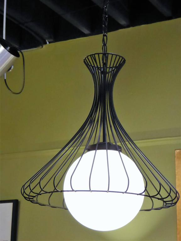 Mid-20th Century 1950s Satin Glass Globe Chandelier with Sculptural Steel Wire Bell For Sale