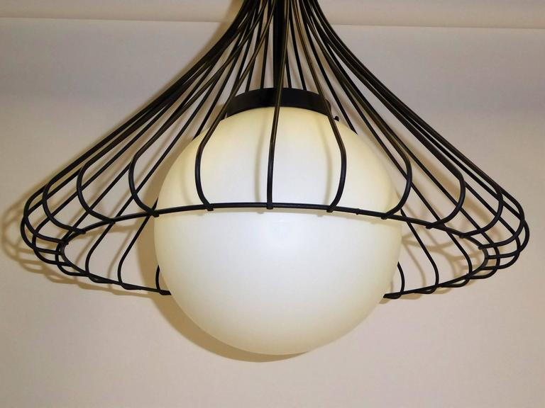 1950s Satin Glass Globe Chandelier with Sculptural Steel Wire Bell For Sale 1