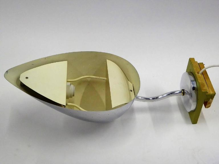 Mid-Century Modern Pair Monumental Carl-Axel Acking Polished Aluminum Sconces Sweden For Sale