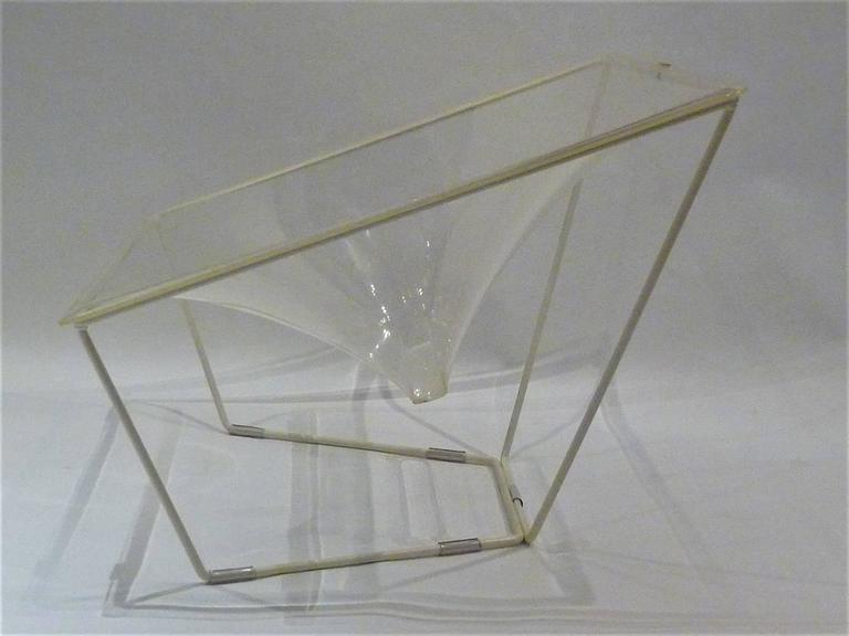 "Wrought Iron ""Contour"" Modern Transparent Acrylic Lounge Chair by David Colwell, 1968 For Sale"