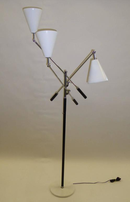 Mid-Century Modern Angelo Lelli Style Design Triennale Three-Arm Articulating Floor Lamp, 1960s For Sale