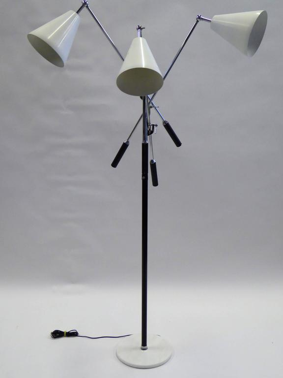 Angelo Lelli Style Design Triennale Three-Arm Articulating Floor Lamp, 1960s For Sale 2